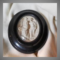 Virgin Mary Angel Annunciation Carved Meerschaum Pipe Clay Framed Cameo Art
