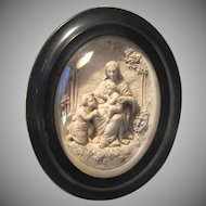 Virgin Mary Baby Jesus John Baptist Carved French Pipe Clay Cameo Framed Art