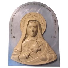 Virgin Mary Wall Plaque 1954 Immaculate Heart