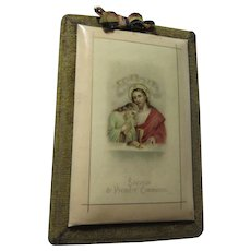 First Communion Celluloid Plaque French Jesus Eucharist Religious Art