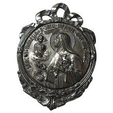 St Therese of Infant Jesus Metal Old Medallion Medal Saint