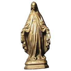 Virgin Mary Gold Painted Figurine Signed Statue