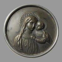 Virgin Mary Infant Jesus Icon Medallion Medal German
