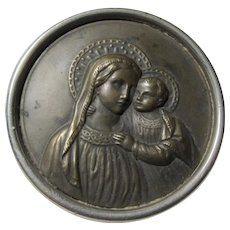 Virgin Mary Infant Jesus Icon Medallion Medal German