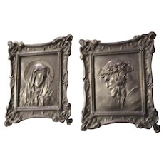 Jesus and Virgin Mary Silvertone Metal Miniature Art Plaques Portraits