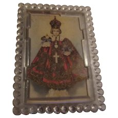 Jesus Infant of Prague Miniature Print Easel Back