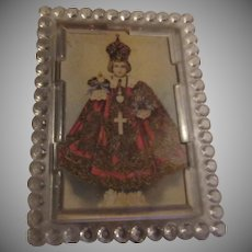Jesus Infant of Prague Miniature Print Easel Back