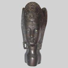Large Quan Yin Three Face Bodhisattva Vase Bronze Metal