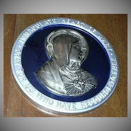 Old Virgin Mary Immaculate Heart Metal Figure On Blue Glass Plaque Fine Catholic Christianity Religious Art