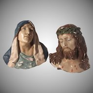 virgin Mary & Jesus Chalkware Wall Busts Statues Plaques