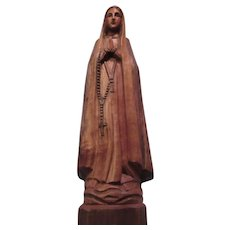 Virgin Mary Hand Carved Wood Statue Figurine