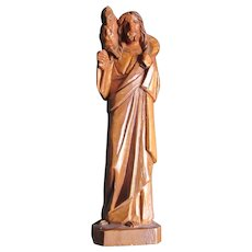 Carved Wood Jesus Statue Figurine With Lamb