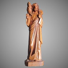 Carved Wood Jesus Statue Figurine With Lamb