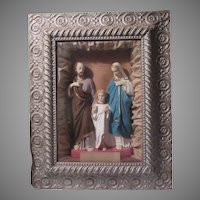 Holy Family Virgin Mary St Joseph Child Jesus Shadowbox Framed Wall Statue Art Home Altar