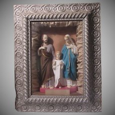 Holy Family Virgin Mary St Joseph Child Jesus Shadowbox Framed Wall Statue Art Home Altar