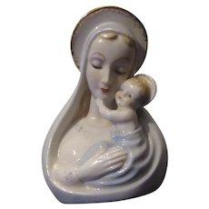 Virgin Mary Infant Jesus Madonna Head Bust Vase