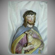 Jesus Christ & Lamb Porcelain Figurine Old Religious Statue