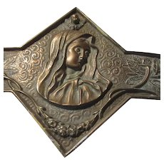 Old Virgin Mary Long Brass Wall Plaque