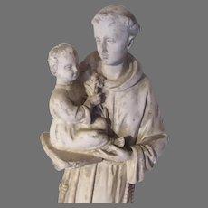 French Pipe Clay St Anthony  Infant Jesus Statue  Catholic Religious Figurine
