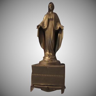Virgin Mary Figurine Statue On Musical Music Box Stand Rosary Holder