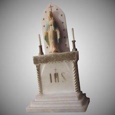 Virgin Mary Old Plastic Miniature Statue Figurine Altar Shrine