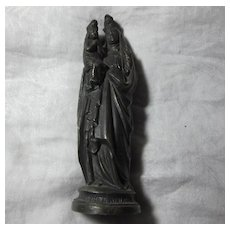 St Anne  Virgin Mary Old French Metal Statue Figurine