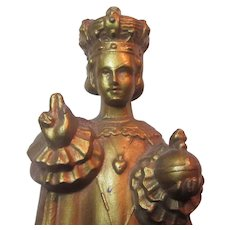 Jesus Infant of Prague Gold Gilt Metal Statue Figurine Signed