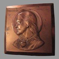 Copper Jesus Sacred Heart Miniature Art Plaque Icon