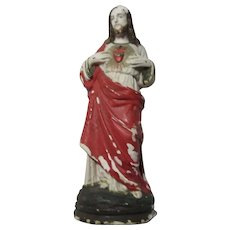 Old Small Chalk or Plaster Jesus Sacred Heart Statue Figurine