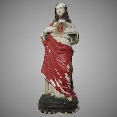Old Small Chalk or Plaster Jesus Sacred Heart Statue Figurine