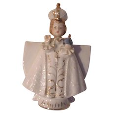 Jesus Infant Of Prague Figurine Statue With Vase