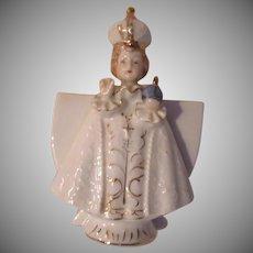 Jesus Infant Of Prague Figurine Statue With Vase
