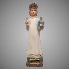 Jesus Infant of Prague Chalk Ware Statue Figurine