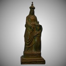 French Metal St Anne & Virgin Mary Statue Figurine