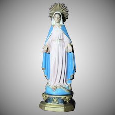 Papier Mache Virgin Mary Crowned French Statue