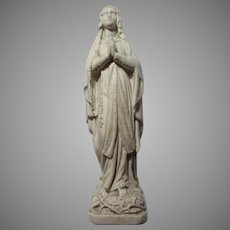 Virgin Mary Our Lady French Pipe Clay Meerschaum Statue Figurine