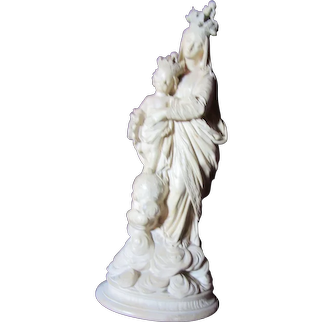 Virgin Mary Our Lady of Victory French Pipe Clay Statue Signed Cambos