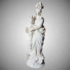 Mary Our Lady Infant Jesus French Pipe Clay Statue