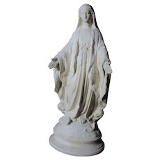 French Pipe Clay Virgin Mary Statue