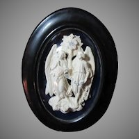 Old Carved French Pipe Clay Meerschaum Framed Angels