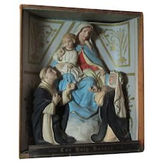 Virgin Mary Our Lady of the Rosary St Dominic Statue Old and Rare