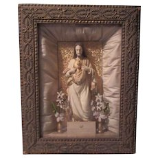 Jesus Sacred Heart Shadowbox Framed Statue Home Altar