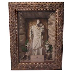 St Joseph Infant Jesus Shadowbox Framed Statue Catholic Saint Home Altar