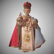 Old Rare Design Infant of Prague Statue