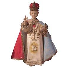Old Rare Design Infant of Prague Statue