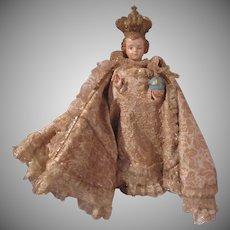 Old Infant of Prague statue Brocade Robes