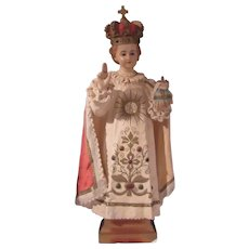 Old Infant of Prague Jesus Statue Large Church Size Glass Eyes