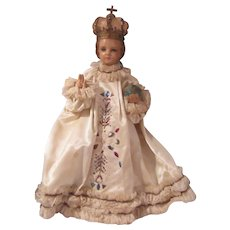 Old Infant of Prague Large Statue With Clothing
