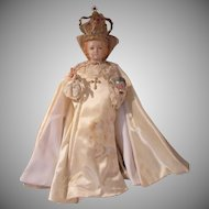 Large Old Infant of Prague Jesus Statue With Clothing and Jeweled Crown
