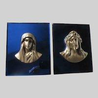 Virgin Mary Jesus Head Plaques on Blue Mirror Glass
